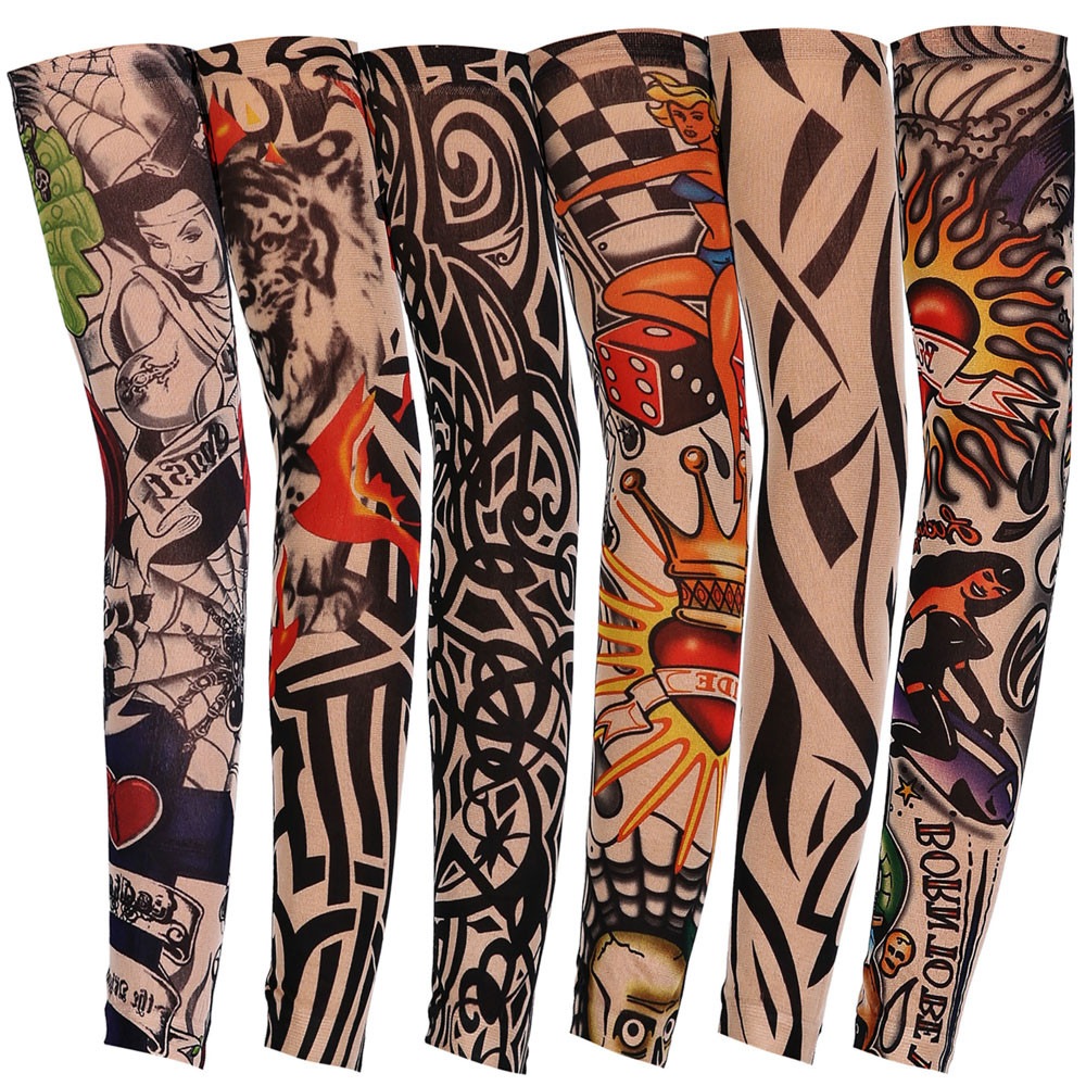 1PC New Style Nylon Elastic Fake False Temporary Tattoo Sleeve Designs Body Arm Stockings Tatoo for Cool Men Women image