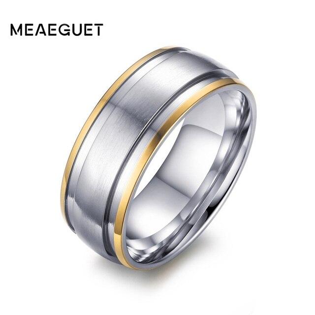 Meaeguet 316L Stainless Steel rings for men women engagement wedding classic Gol