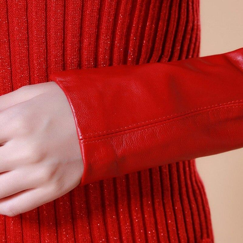 Delle donne di Inverno Aderente Lavorato A Maglia Vestito A Collo Alto In Vera Pelle Patchwork Abiti A Manica Lunga Elastico Maglieria Wrap Slim Fit Dress - 6