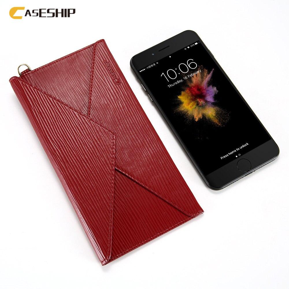 imágenes para CASESHIP Caja Del Cuero Genuino Para el iphone 6 6 S 7 Plus 5S SÍ tirón de la Carpeta Funda Para El Samsung S5 S6 S7 Sobre Bolsa Casos bolsa