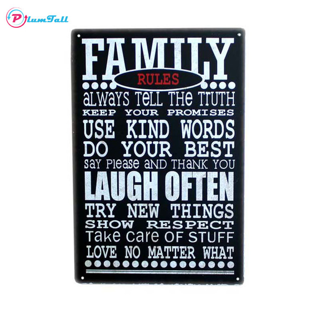Family Rules Quote Letter Vintage Metal Signs Home Decor Posters Bar Tin Pub Cafe