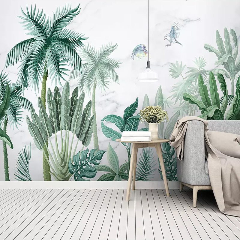 Custom Photo Wallpaper 3D Hand-Painted Tropical Rain Forest Plants Landscape Background Wall Paper Living Room Bedroom 3D Mural