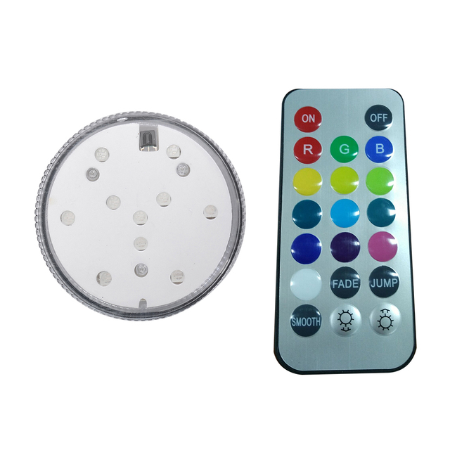 2PCS 10 smd RGB Color Underwater Lights Waterproof Wedding Party Vase Submersible Floral Led Base Light+ 20key Remote Controller
