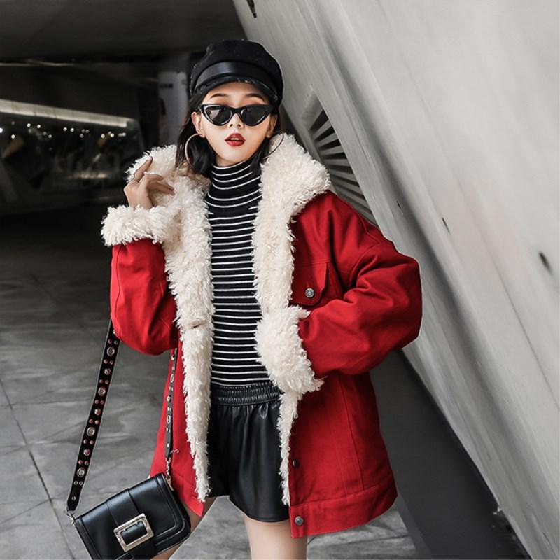 Automne 2018 Coréenne Faux Mode Manteau Femmes Hiver Whitney Wang Style Laine Parkas Rouge Streetwear Épais Doublure Agneaux Survêtement 58YwqAEA