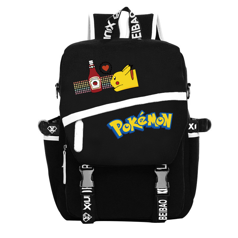 New Fashion Pokemon Pocket Monster Harajuku Schoolbag Gengar Pikachu Print Shoulders Bags Rucksack Mochila japan pokemon harajuku cartoon backpack pocket monsters pikachu 3d yellow cosplay schoolbags mochila school book bag with ears