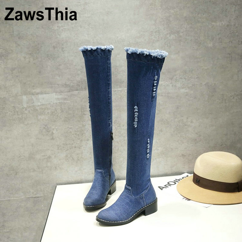 ZawsThia 2018 fashion Apring autumn women boots round toe zipper ladies denim boots square heel blue sexy over the knee boots moonmeek 2018 fashion apring autumn women boots round toe zipper ladies denim boots square heel blue sexy over the knee boots