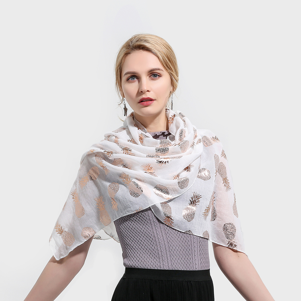 Fashion Summer Shawls Woman White Scarves With Glitter Shiny Rose Gold Foil Pineapple Scarfs Shawls For Womens Ladies