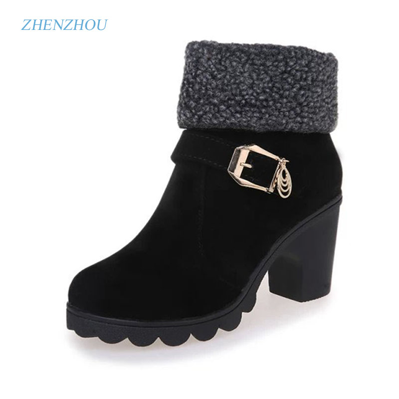 zhenzhou New autumn/winter 2017 The U.S. dollar head High and thick with Belt buckle Pair of ankle boots Martin boots michael burgan who was henry ford