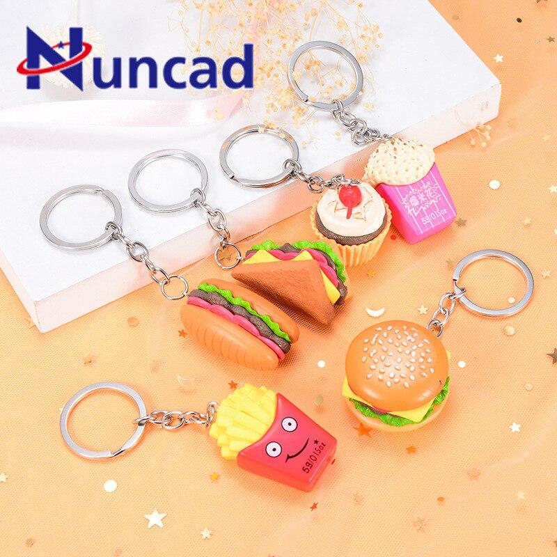 Simulation Food Hamburger Popcorn French Fry Key Chain Pendant Automobile Key Ring Accessories Originality Small Pendant Gift