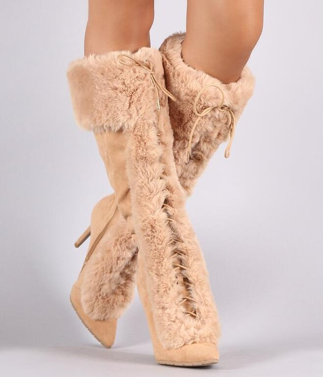 a87de092a522 2017 Winter Hottest Suede Leather Pointy Toe Women Boots Faux Fur Lace Up  Ladies High Heel Boots Warm Snow Boots Size 41