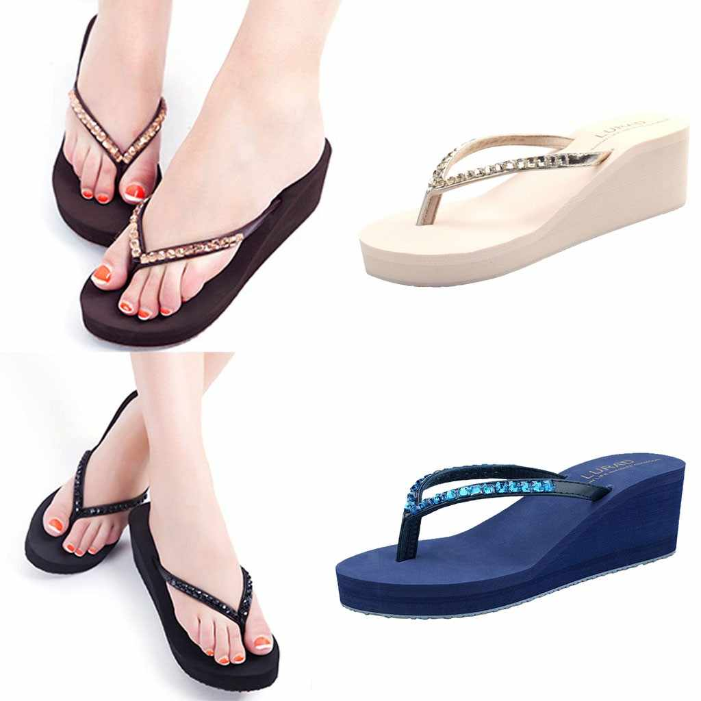 SAGACE Wedges Slippers Beach Women's Summer Casual Rhinestone Thick Bottom Slippers Beach Anti-Slip Open Toe Shoes Zapatos Mujer