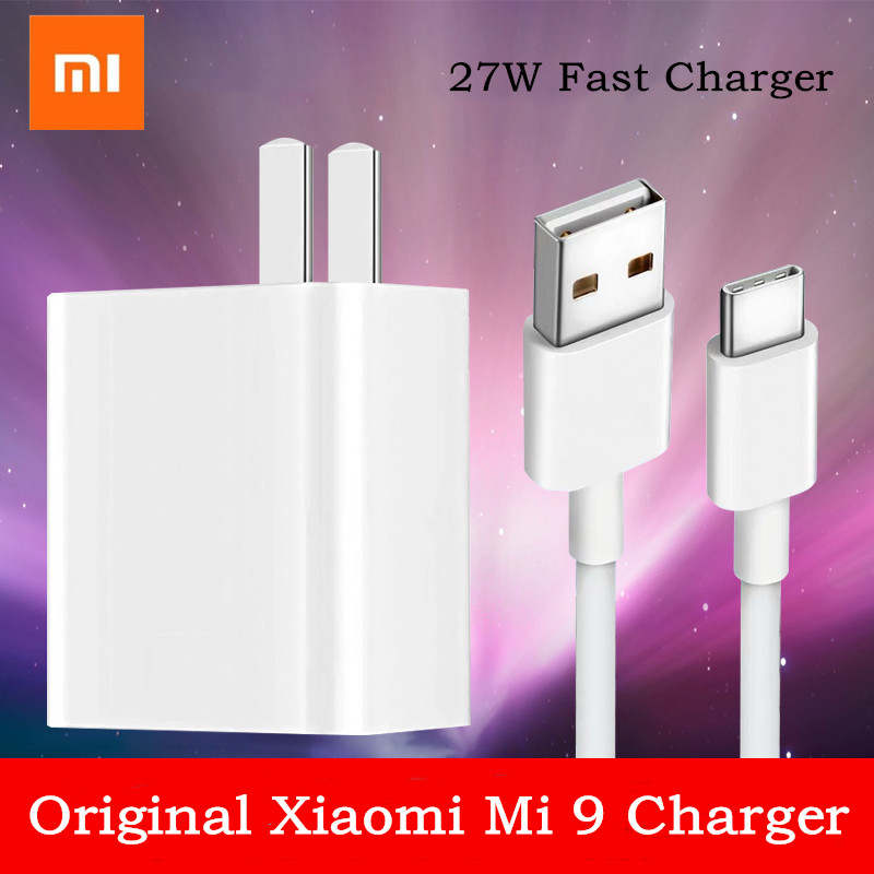 Original Xiaomi <font><b>Mi</b></font> 9 Wall <font><b>Charger</b></font> <font><b>27W</b></font> USB Adapter Type-C Cable For <font><b>Mi</b></font> 8 Lite 8se 9se Max 3 2/Mix 3 2s/Redmi note 7/Pocophone f1 image