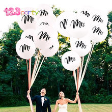 123 10 Pcs Round White Print Mr&Mrs Latex Balloons Bride to Be Love Engagement Hen Wedding Celebration Decor Party Supplies(China)