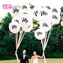 123 10 Uds. Globos redondos de látex con estampado blanco Mr & Mrs para novia para ser amor compromiso despedida de soltera suministros de decoraciones para fiestas