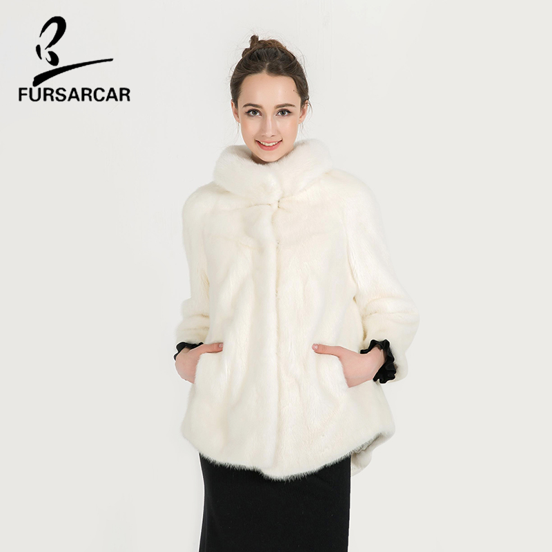 FURSARCAR White Mink Fur Coat Thick Warm Fur Real Full Pelt Mink Fur Women Winter Coat Short Style Three Quarter Coats BF-C0483