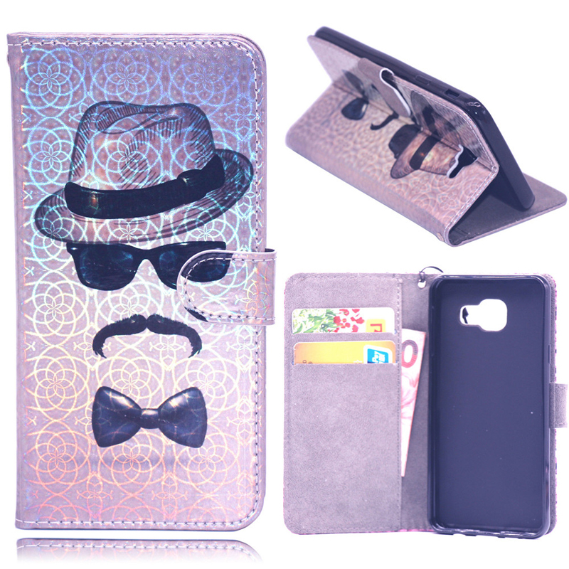 3D Laser Leather Flip Wallet Case Soft Phone Silicone Cover Coque Funda for Samsung Galaxy A7 2018 A750 M10 M20 M30 A10 A30 A50 in Flip Cases from Cellphones Telecommunications