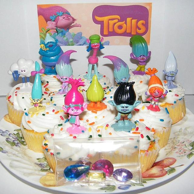12pcs Set Trolls Movie Happy Birthday Cake Topper Wedding 3 6cm