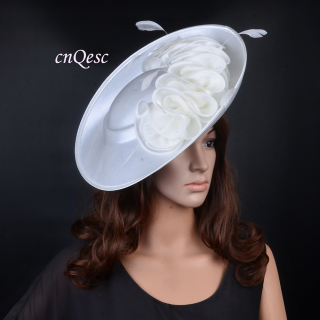 Ivory Large Saucer Base Satin Fascinator Wedding Hats For Kentucky Derby Church Party