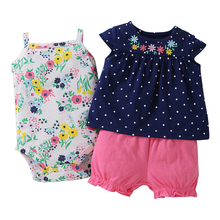 Cotton Baby girl clothes polka dot pattern Clothing Set baby rompers Girls summer Sets 3 pieces/set=1 set+ 1 romper