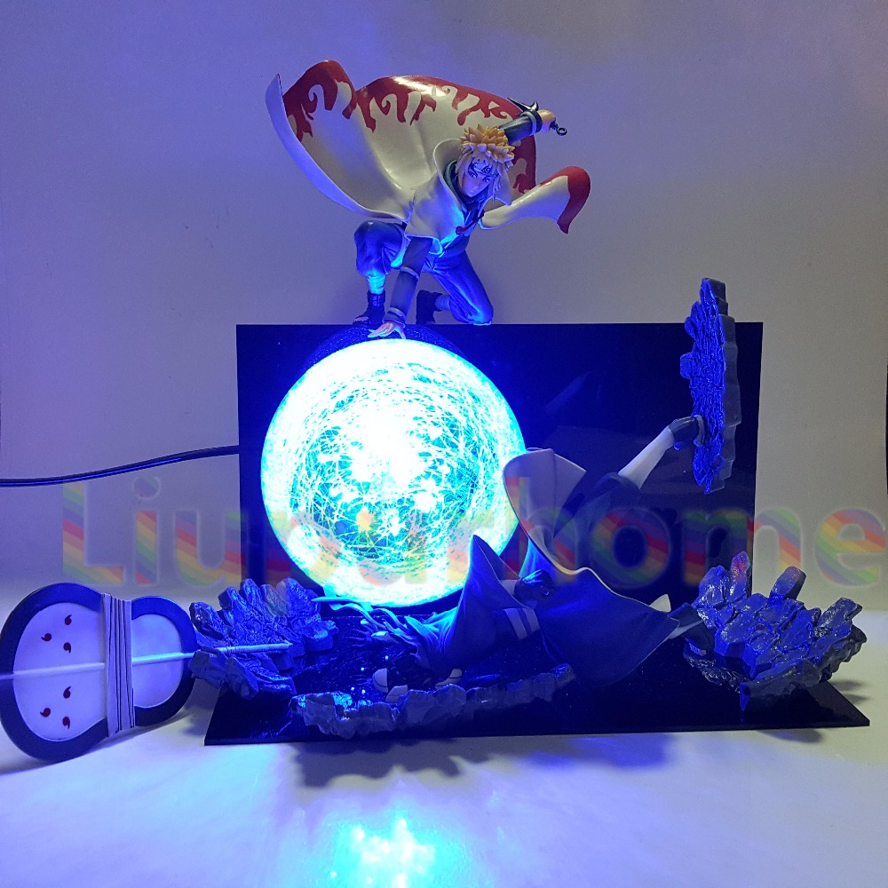 Naruto Minato VS Obito Rasengan Led Lumière Scène Anime Naruto Shippuden Led Night Lights Uchiha Obito Décoratif Bureau Lampe Blub