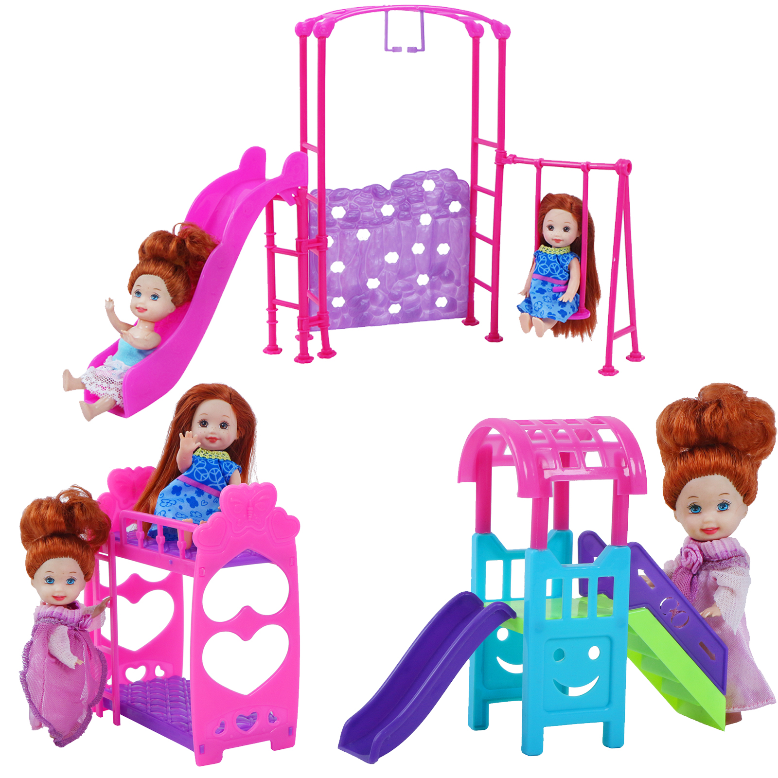 Cute Nursery Dollhouse Pink infant Bunk Bed Swing Slide Furniture for Barbie Doll Sister Kelly for Simba Doll Accessories(China)