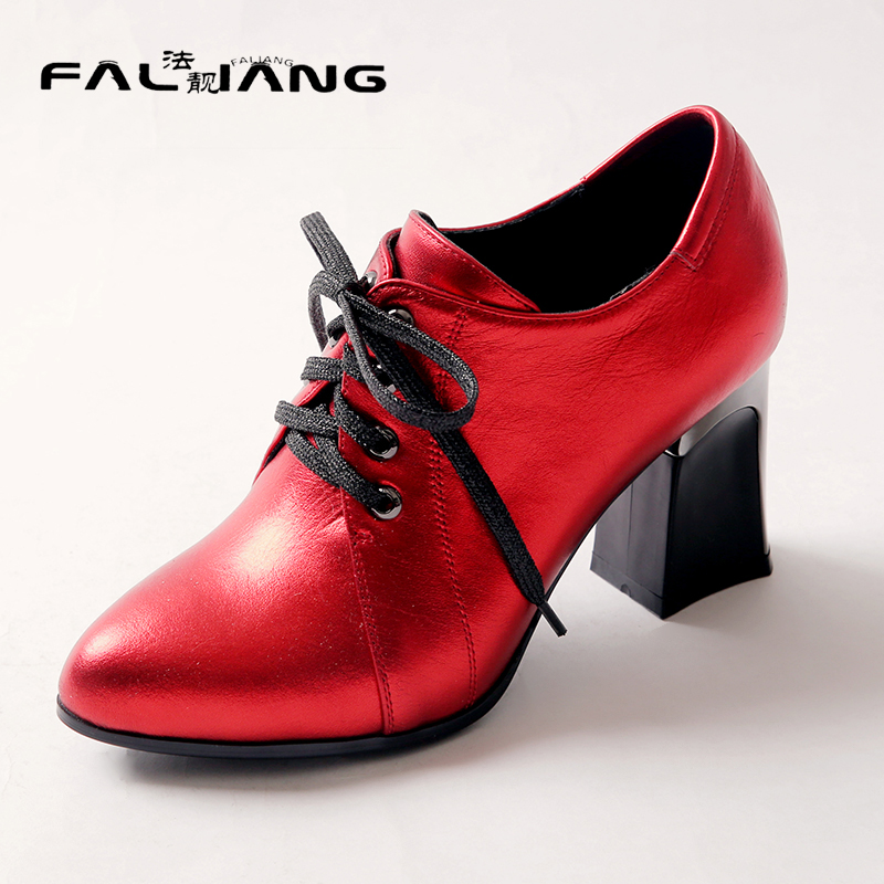 2017 New Genuine Leather Casual Pointed Toe high heels pumps Big Size 11 12 Fashion Cross-tied women shoes woman ladies womens spring women red shoes flat pointed toe genuine leather high 2017 new woman shoes high quality casual flats big size 41 42 43