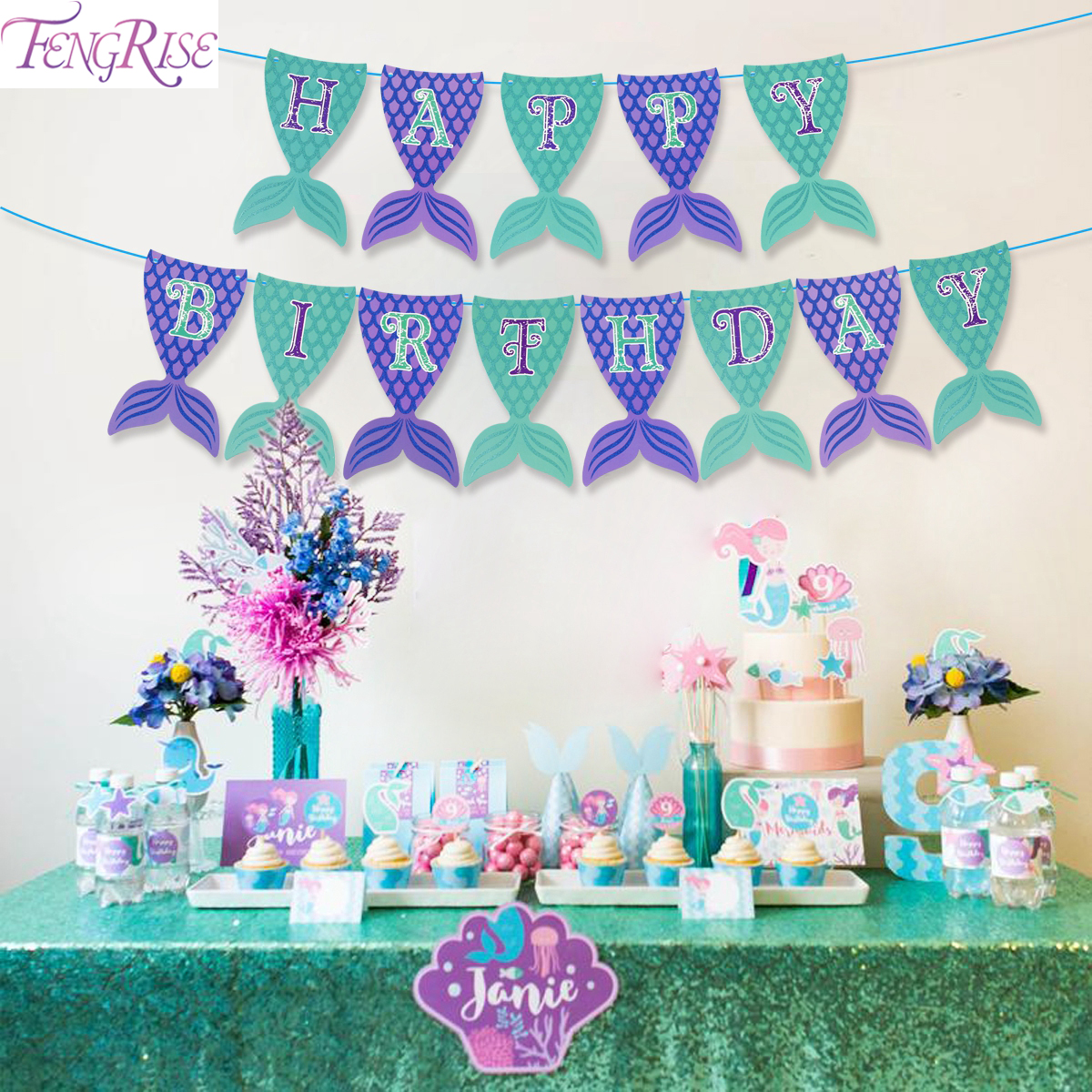 FENGRISE Little Mermaid Birthday Party Supplies Tablecloth Themed Parties Decorations For Table Balloons Decor