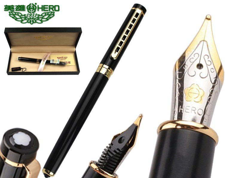 Fountain pen Black  HERO 1066 student supplies standard pens office stationery set Free  Shipping fountain pen fine nib chrome black hero 573 stationery office and school gift free shipping