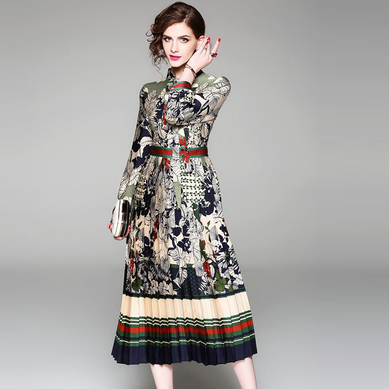 New 2018 European Style Women Fashion Long Sleeve Green Leaf Floral Printing Dress With bow Belt Long Dresses Vestido Size S-2XL