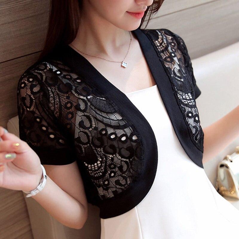 Summer Embroidery Mesh Crochet Lace Jacket Embellished Cape Short Sleeve V Collar Women Cardigan Short Femme Bolero Coat