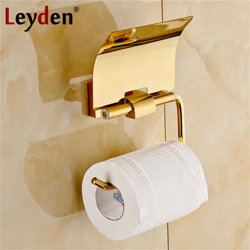 Leyden Toilet Paper Holder Luxury Polished Golden/ Chrome with Cover Wall Mounted Brass Toilet Paper Hanger Bathroom Accessories free shipping high quality bathroom toilet paper holder wall mounted polished chrome