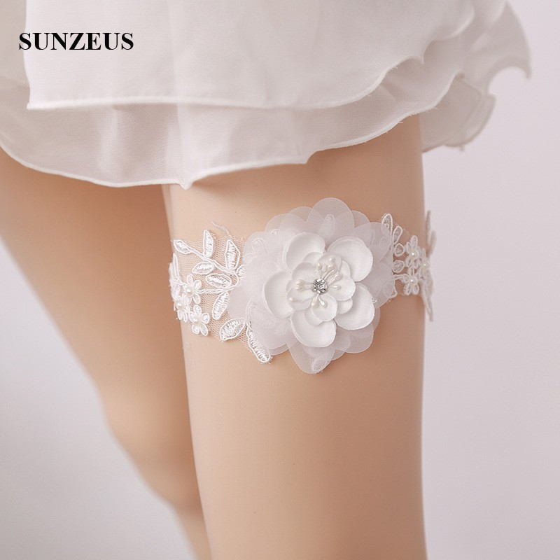 Appliques Lace Bridal Garter With Hand-made Flowers Sexy Wedding Garter Leg Belt For Brides Marrigae Accessory FI036