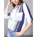 2017 Women Color Block Striped Blouses Lapel  Long Sleeve Pockets Casual Plus Size Lady Clothing Work Wear Office Shirts