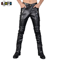 New Mens Skinny Faux Leather Pants Personlity Motorcycle Black Slim Fit Biker Leather Pants Size 27