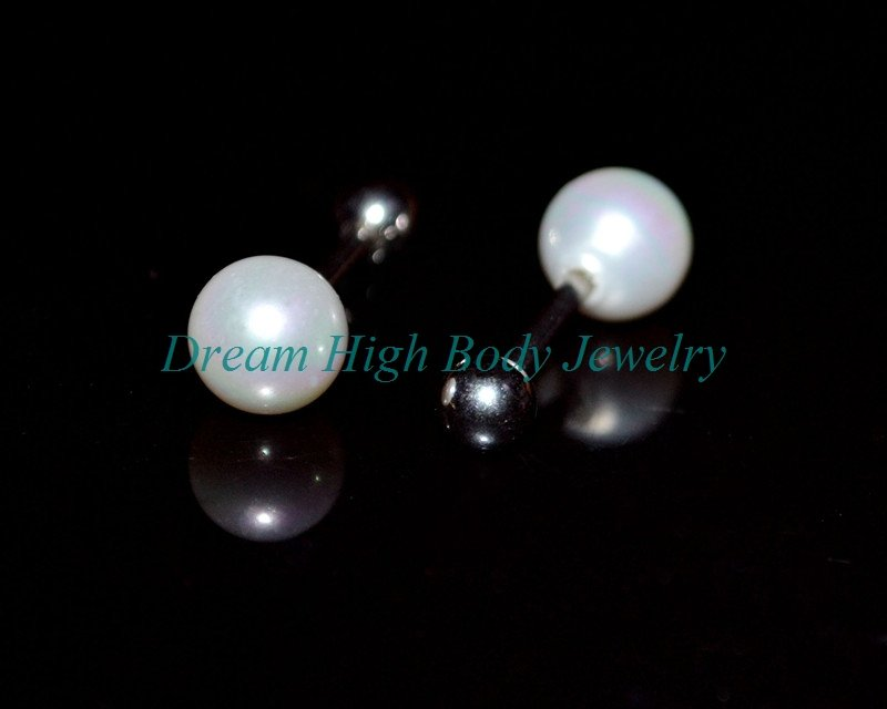 New Arrival 316L stainless steel Jewelry Pearl Earring Stud Ear Ring Nail 6mm ball 16G Bar High Quality Free Shipping