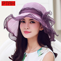 PTAH Anti-UV Visors Organza Foldable Floral Bowknots Wide Brim Floppy Hats For Women Fashion Beach Silk Sombrer Sunscreen Caps
