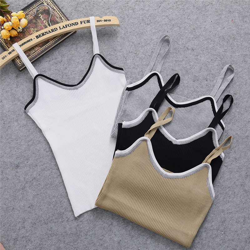 Sexy Women Bodycon Sling Knitted Camisole U-neck Vest Slim   Tank     Top   Caimsole   Tops   KNITTING