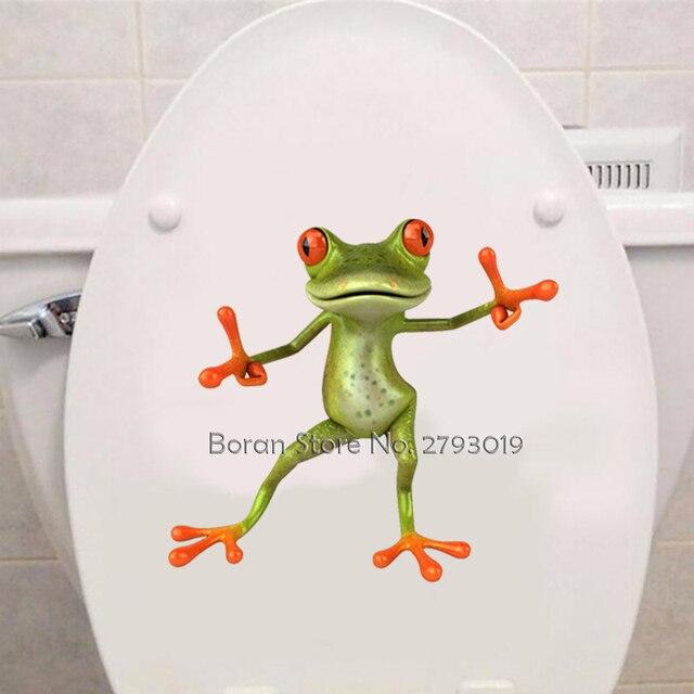 3D Funny Frog Toilet Sticker Fashion Modern Wall Sticker Modern Green Frog Wall Stickers Girls Vinyl Toilet Sticker Home Decor