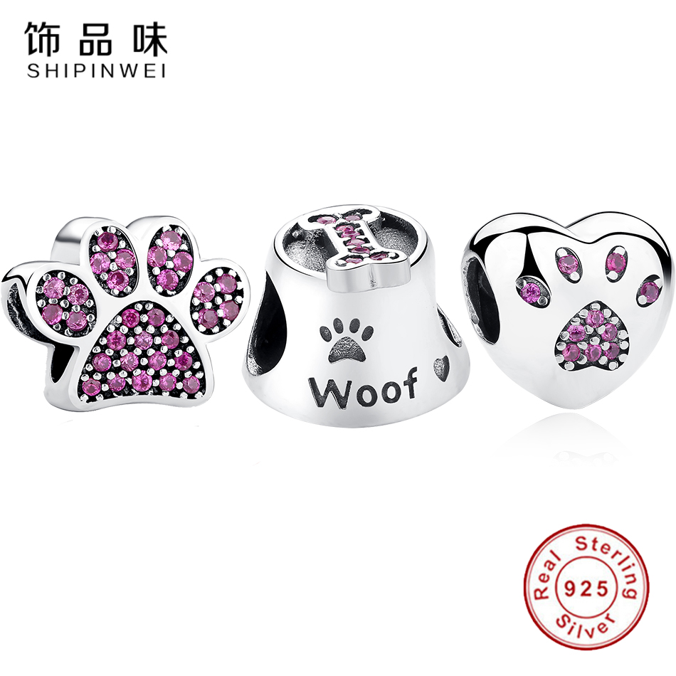 Shipinwei 925 Sterling Silver Lovely Footprint & Footpad Charms with Clear Zirconia Beads Fit Women Pandora Bracelet Jewelry