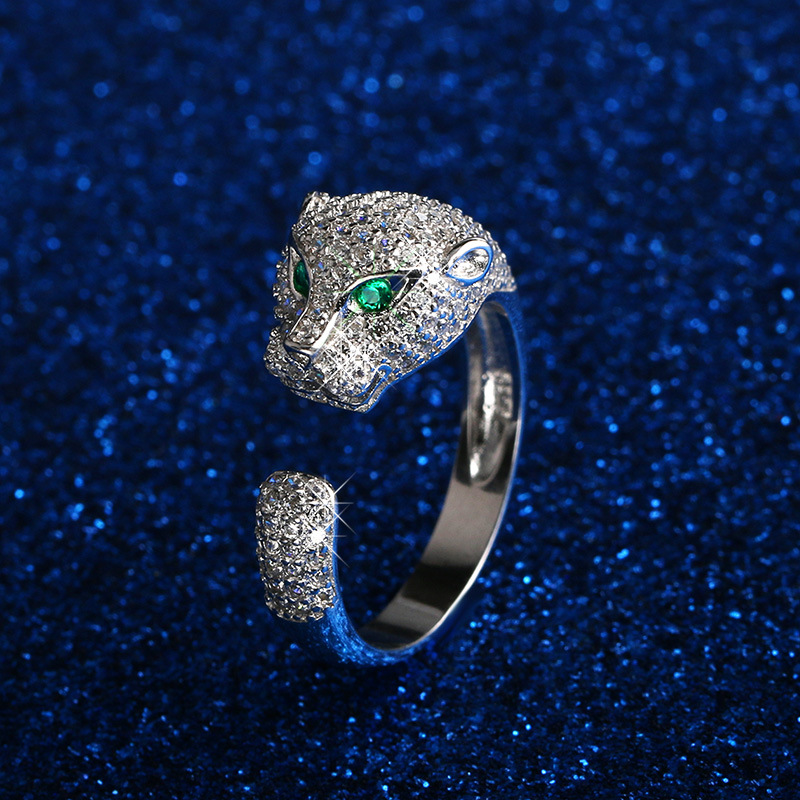 David Kabel 2017 Green chalcedony Eye Open Adjustable Leopard zircon panther Wedding Engagement Rings for women Dropshipping