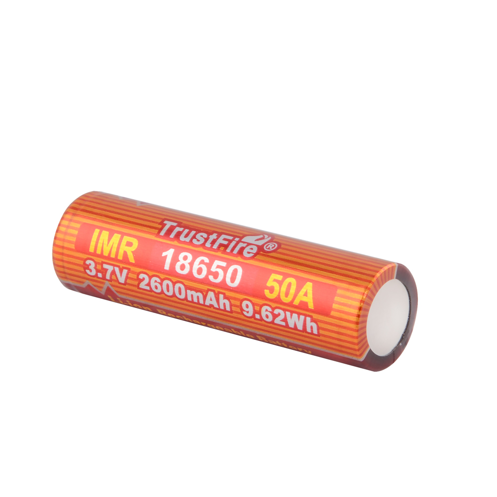 20pcs/lot TrustFire IMR 18650 2600mAh 3.7V 50A 9.62Wh High-Rate Lithium Rechargeable Battery For E-cigarette LED Flashlight