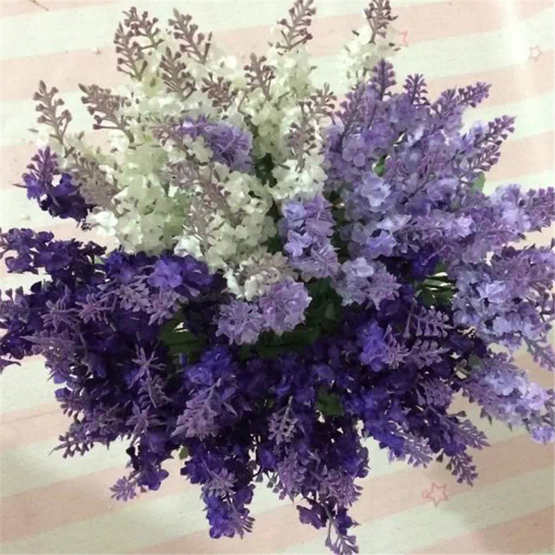 10 Heads Flores Artificial Lavender Silk Plants Flower Bouquet Wedding Home Decor Decorative Fake Flowers Decoration Wa526 P50 In Dried
