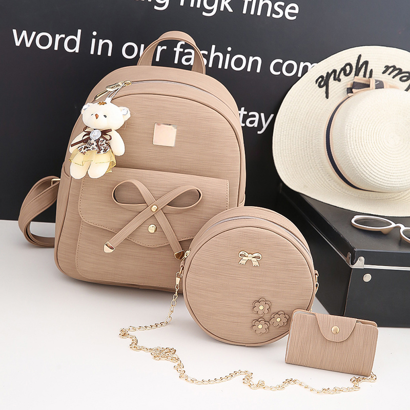 Backpack Female Women Backpack Small Size Fashion Backpacks for Teenage Girls PU Leather Womens Backpacks with Purses 3 Sets48