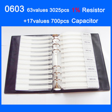 Nouveau 0603 SMD Échantillon Livre 63 valeurs 3025 pièces 1% Kit de résistance et 17 valeurs 700 pièces Condensateur Ensemble
