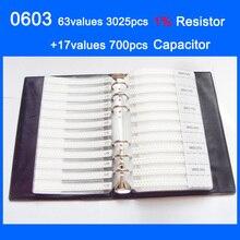 Novo 0603 SMD Livro Da Amostra de 63 valores 3025 pcs 1% Resistor Kit e 17 valores 700 pcs Conjunto Capacitor