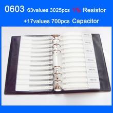 Nowy 0603 SMD próbki książki 63 wartości 3025 sztuk 1% zestaw rezystorów i 17 wartości 700 sztuk zestaw kondensatorów