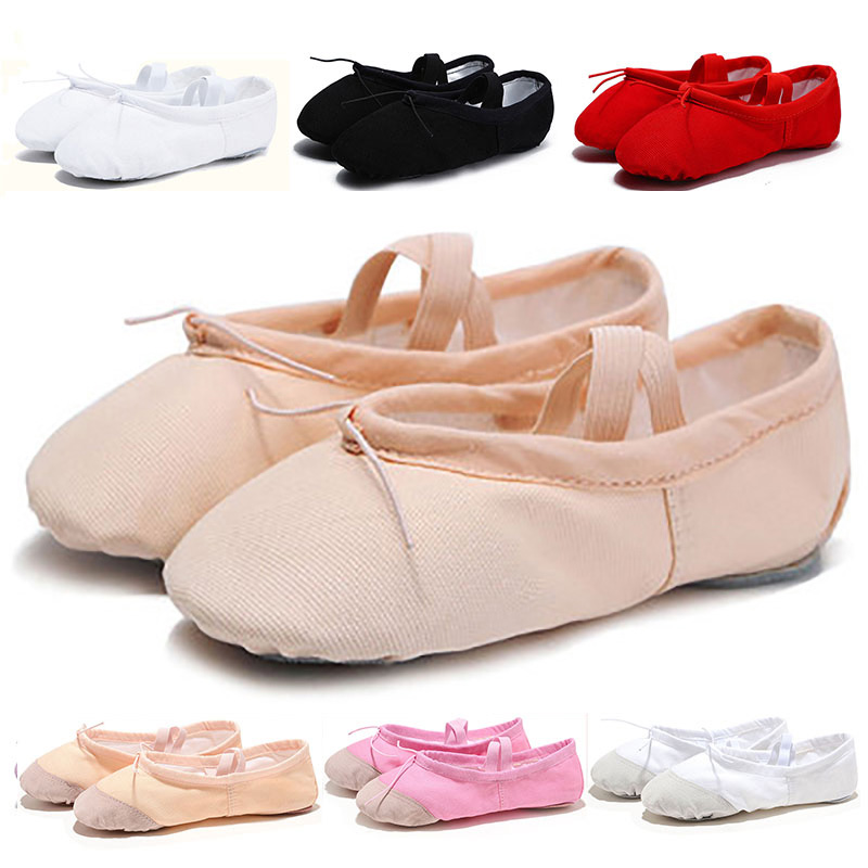 USHINE Leather/Cloth Indoor Exercising Shoes Pink Yoga Practice Slippers Gym Children Canvas Ballet Dance Shoes Girls Woman Kids
