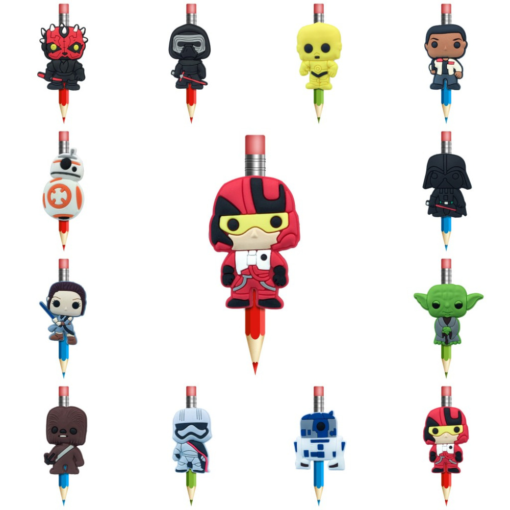 1Pcs Star Wars Cartoon Figures Pencil Topper Straw Charm Pens Accessories Students Supplies Pencil Grip Pen Holders Kids Gifts