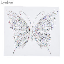 Lychee Colorful Butterfly Hotfix Rhinestone Heat Transfer Iron On Rhinestone  Motif Embellishment For Garment Bags 053be89684e2