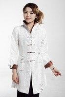 White Chinese Women's Silk Satin Embroidery Long Jacket Coat Flowers Size S M L XL XXL XXXL Free Shipping MN 0121